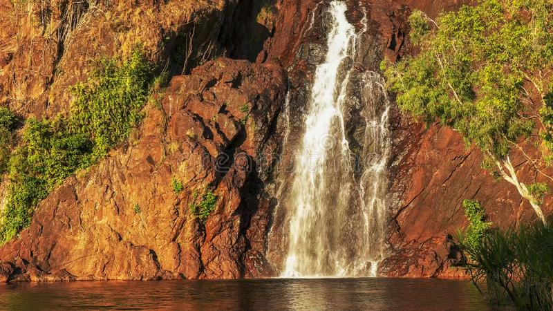 Close up of the base of wangi waterfalls in litchfield national park royalty free stock image