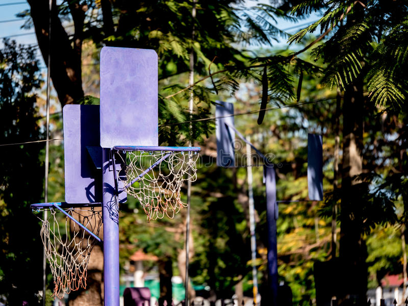 Close up of basketball hoop for little children. In the garden stock images