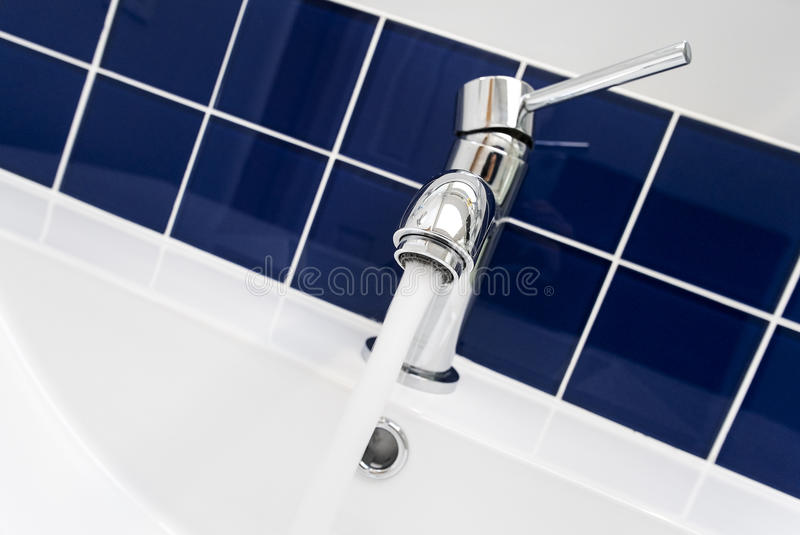 Close-up of a Bathroom Faucet stock image