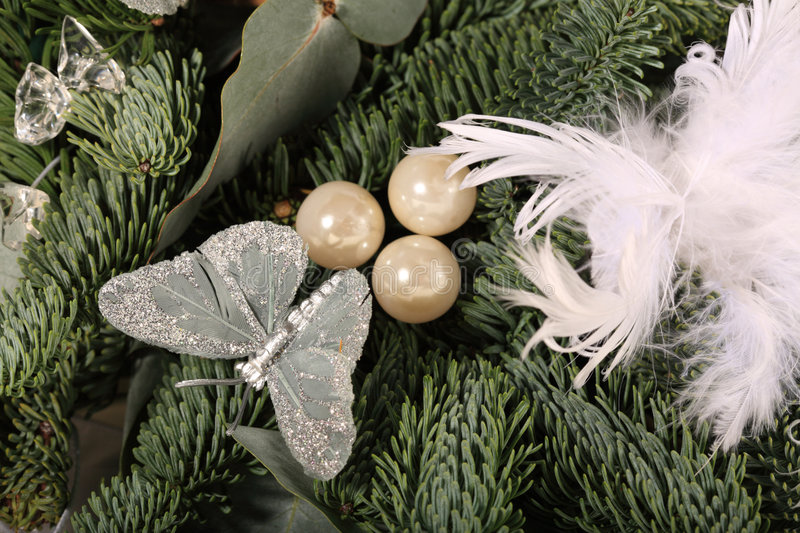 Download Close Up Of Baubles And White Feathers On A Wreath Stock Photo - Image: 6974706