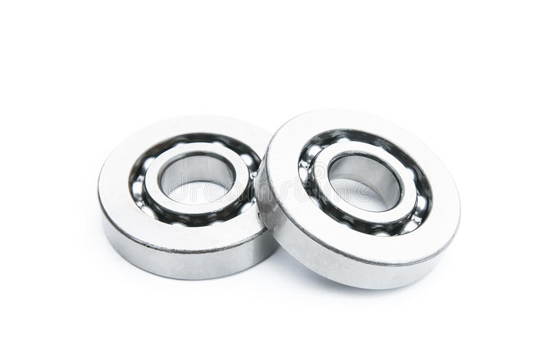 Close up of bearings isolated. On white stock photography
