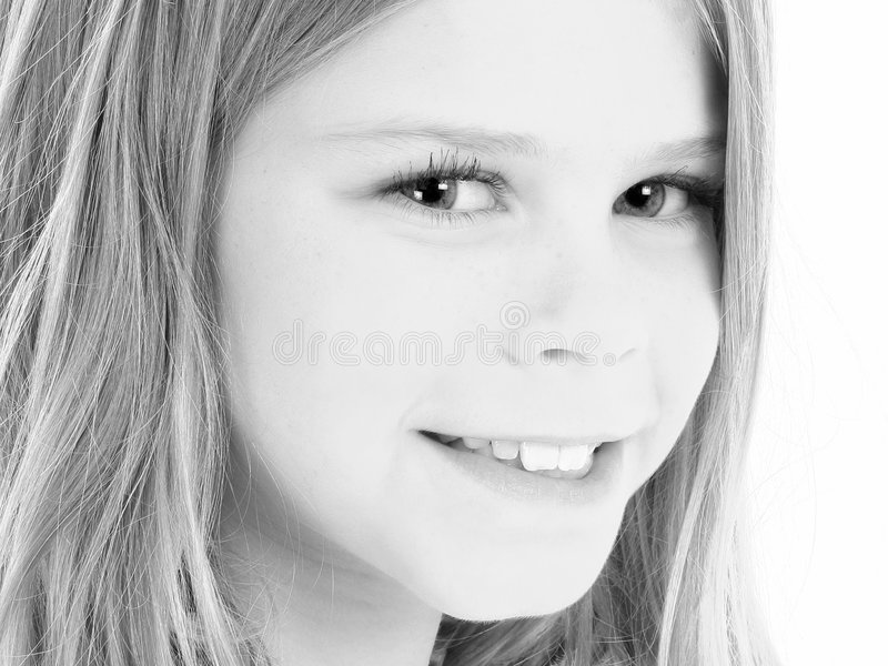 Close Up of Beautiful 10 Year Old American Girl in Black and White royalty free stock photos