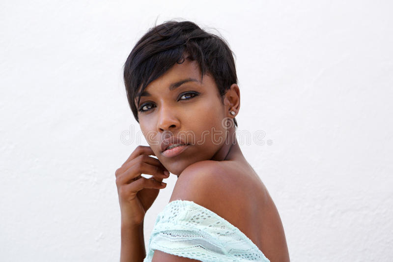 Close up beautiful african american fashion model with short hair stock photography