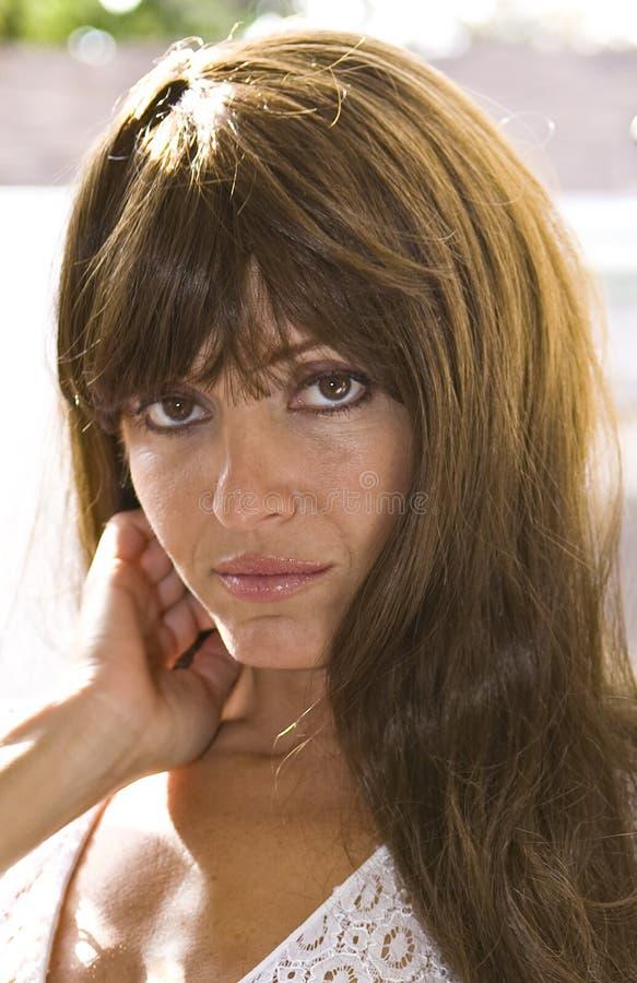 Close up of Beautiful Brunette stock photo