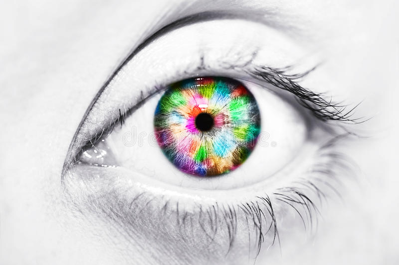 Close-up of beautiful colorful human eye royalty free stock images