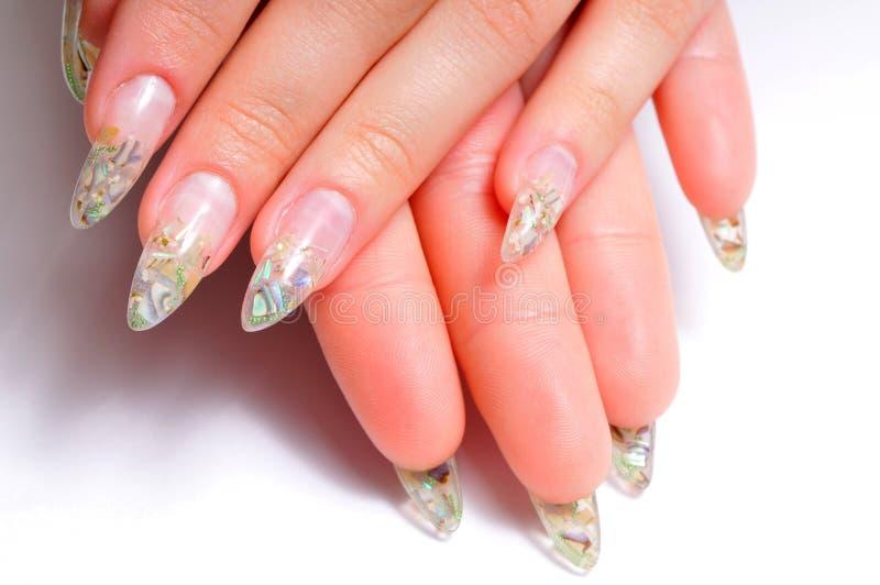 Close-up beautiful female hands with aqua nail royalty free stock photos