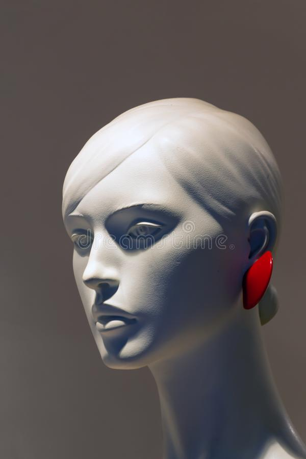 Close-up of a beautiful female plastic mannequin head royalty free stock photo