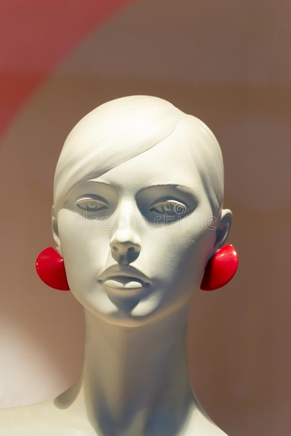 Close-up of a beautiful female plastic mannequin head royalty free stock image