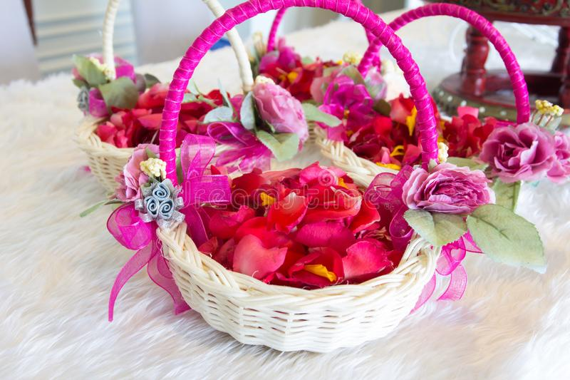 Flowers in basket stock image