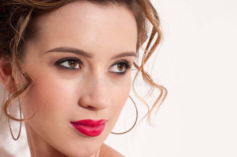 Download Close-up Of Beautiful Girl With Red Vogue Maekeup Stock Image - Image: 13260787