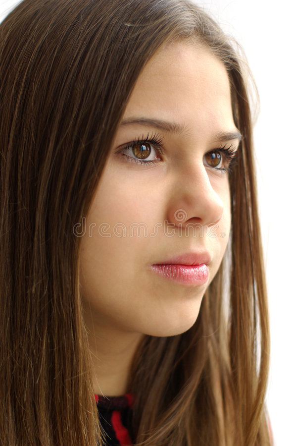 Close-up of beautiful girl on white background royalty free stock images