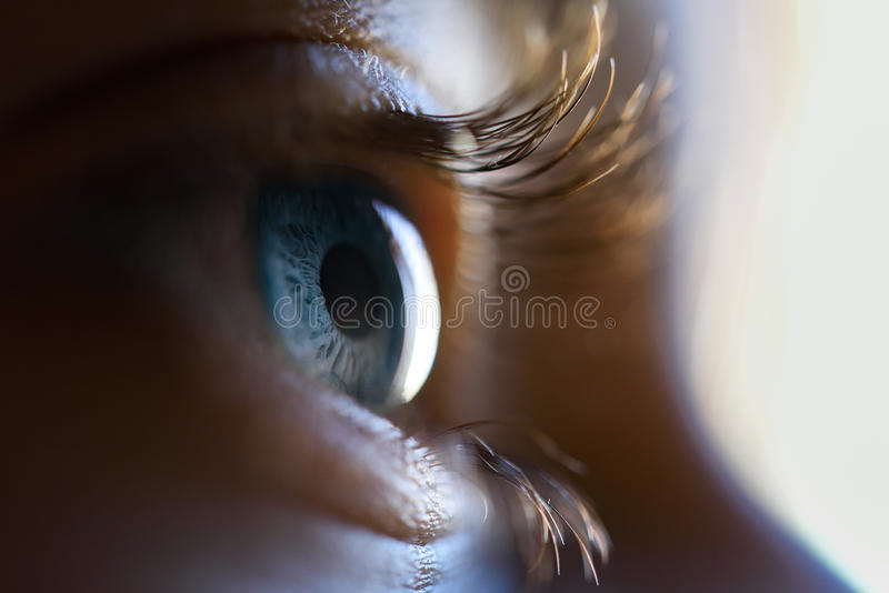 Close-up of beautiful little girl blue eye. Macro photograph royalty free stock photos