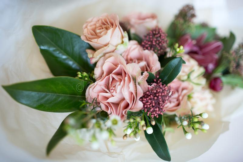 Close Up Beautiful Luxury Bouquet Of Mixed Flowers In Glass Vases