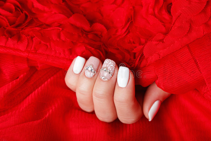 Close-up of beautiful manicured nails. Close-up of a professional manicured nails royalty free stock image