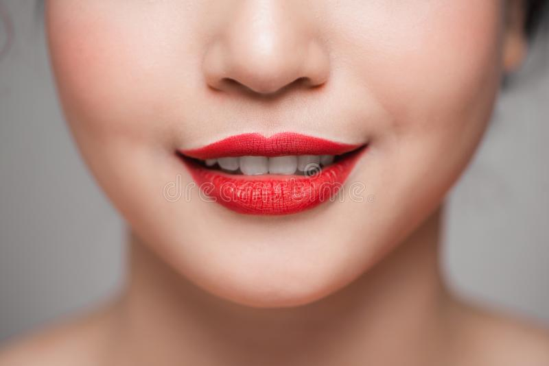 Close-up of beautiful perfect red lips. Selective focus royalty free stock photography