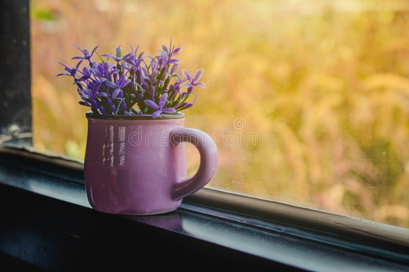 Close up beautiful purple flowers in steel vase or jar put on edge of window with sunlight. royalty free stock photo