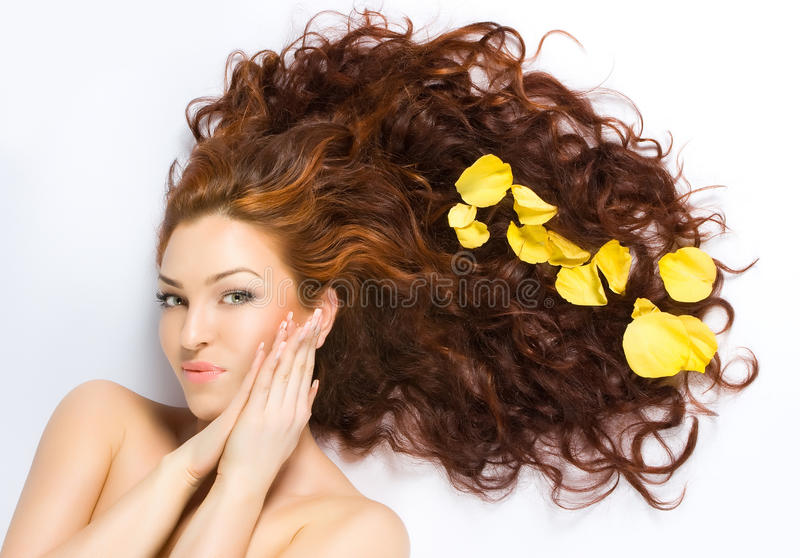 Close-up beautiful red-haired lady stock photo