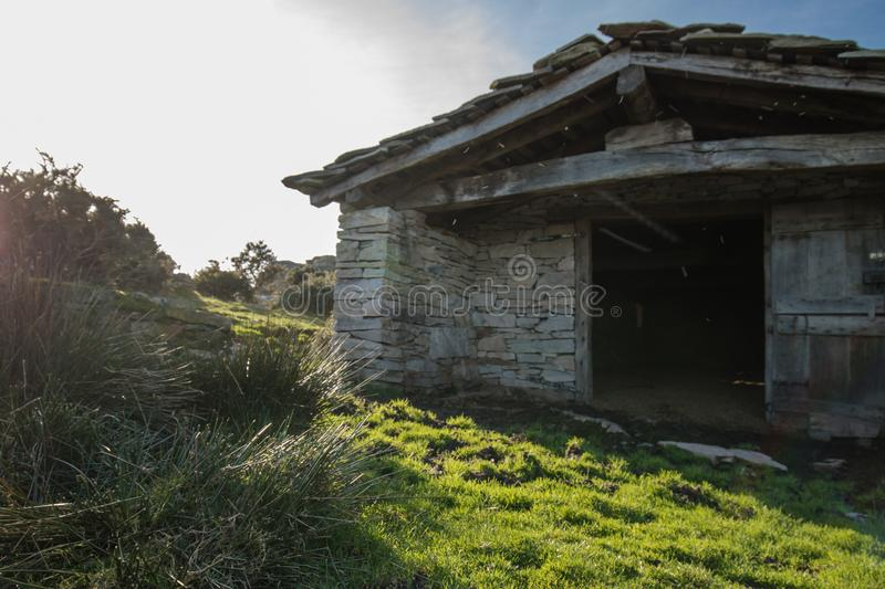 Download Close Up Beautiful Stone Sheep Barn In Countryside Mountains Basque Country France Stock