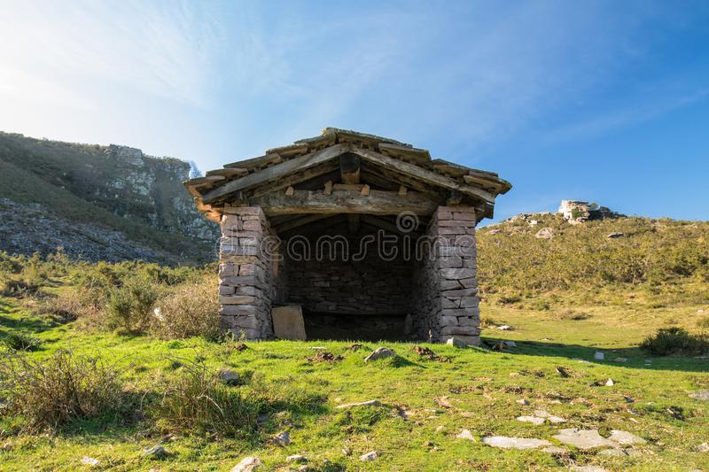 Close up beautiful stone sheep barn in countryside mountains, basque country, france stock images