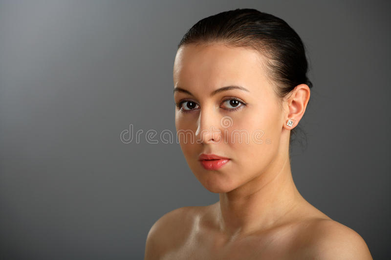 Close-up of beautiful woman face royalty free stock photo
