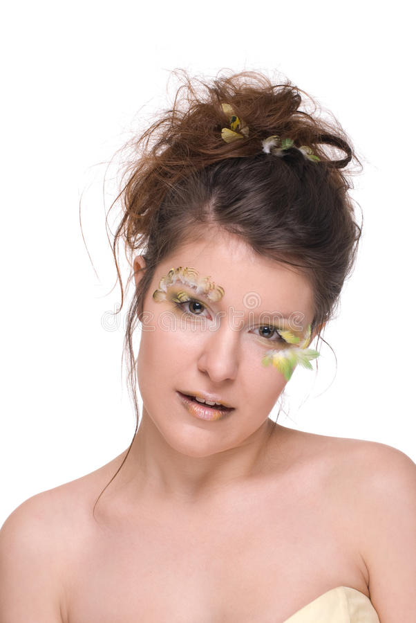 Close Up Of Beautiful Woman With Feather Make Up Stock Image