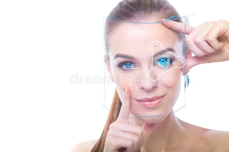 Close-up of a beautiful woman with hologram royalty free stock images