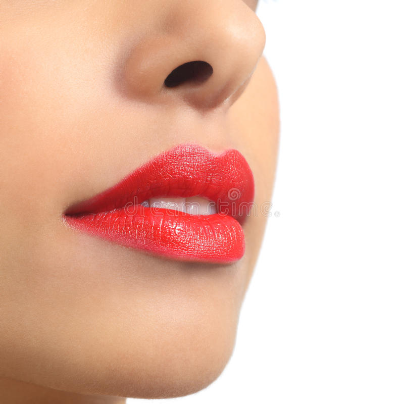 Download Close Up Of A Beautiful Woman Lips Painted On Red Stock Images - Image: 36331254