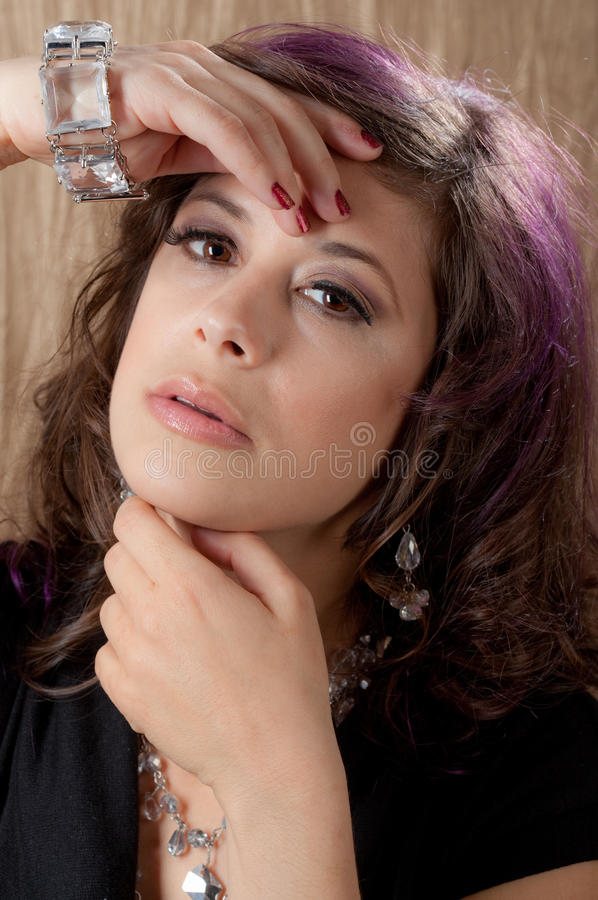 Close Up Of Beautiful Woman S Face And Hands Royalty Free Stock Image