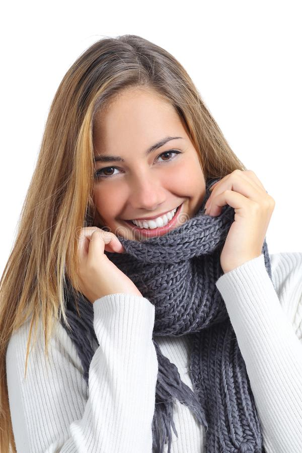 Download Close Up Of A Beautiful Woman Smile Wearing Winter Clothing Stock Photo - Image: 33800890