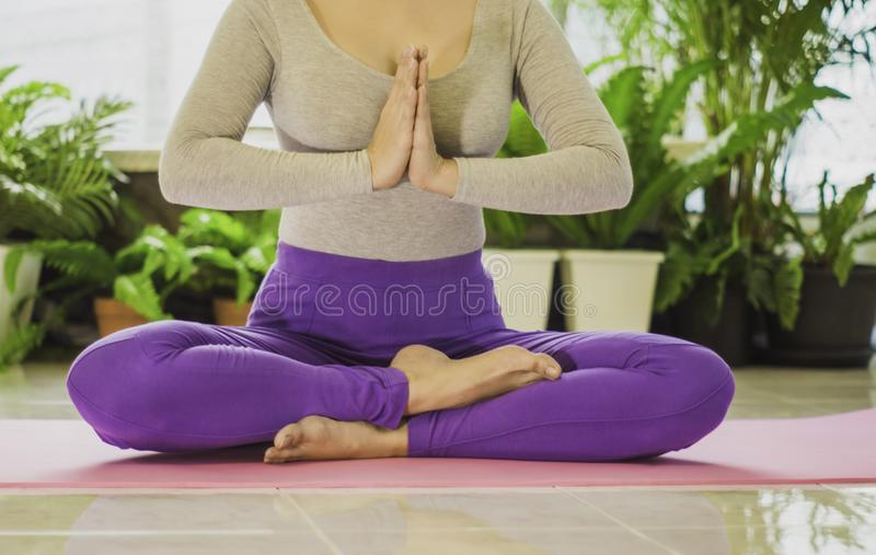 Close up Beautiful women with meditation and yoga to refresh the mind and spirit, With sunlight morning, concept of relaxation and royalty free stock images