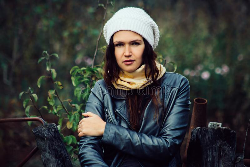 Close up. beautiful young woman in white beret royalty free stock photography
