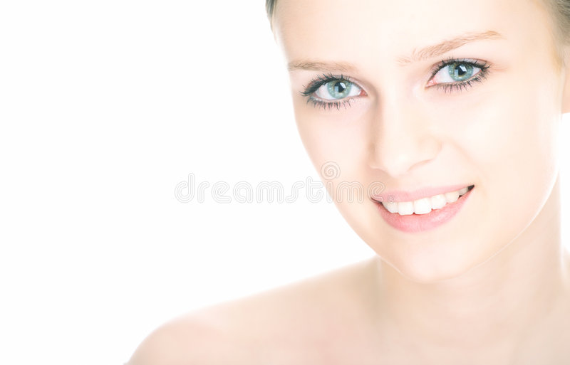 Close-up beauty girl portrait. On white background royalty free stock image