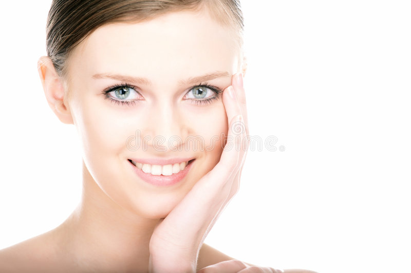 Close-up beauty girl portrait. On white background stock photography