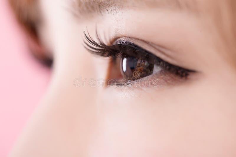 Close up of woman eyelashes stock images
