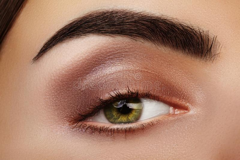 Close-up Beauty of Woman`s eye. smoky Eyes Makeup with brown Eyeshadows. Perfect strong Shape of Eyebrows royalty free stock photo