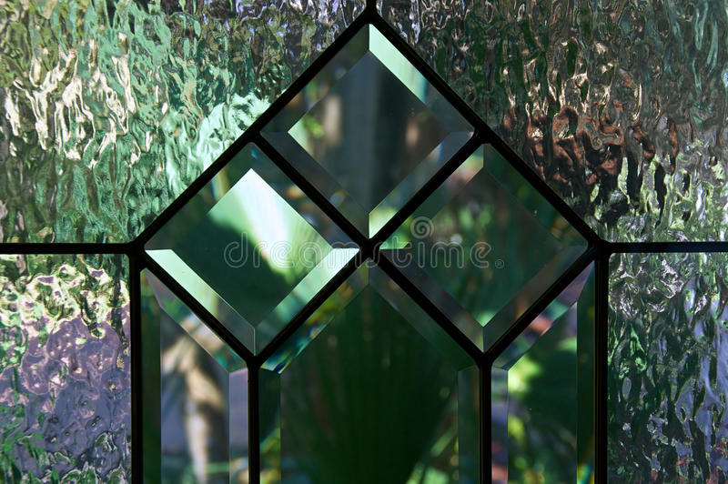Close Up Of Beveled And Textured Glass Stock Photo