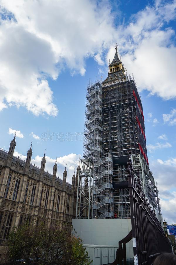 close up Big Ben clock tower under renovation in London stock image