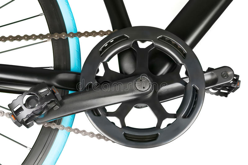 Close up of bike crankset chainring and pedals royalty free stock images