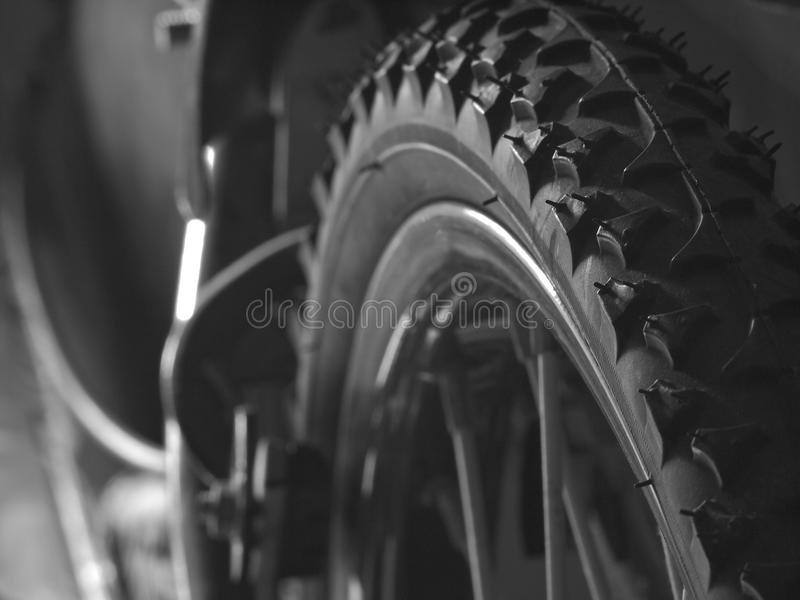 Close up of bike tire (Black and white) for background. Close up of bike tire for background for background royalty free stock photo