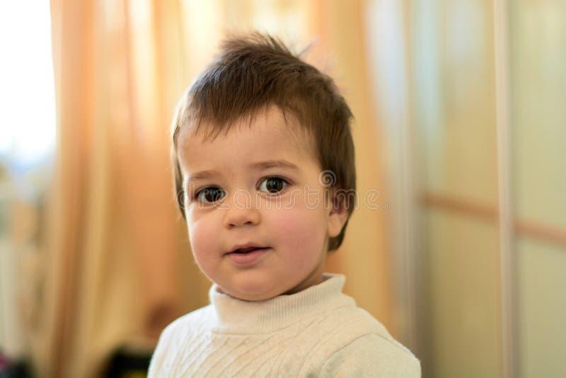 Close-up binnenportret van een babyjongen met ongehoorzaam haar De diverse emoties van een kind stock afbeelding