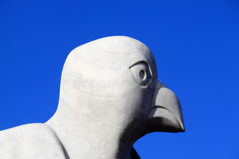 Close up of Bird sculpture Stone Jetty, Morecambe. Close up of the head of a bird sculpture on the Stone Jetty in Morecambe, Lancashire, England, UK. The stock photo