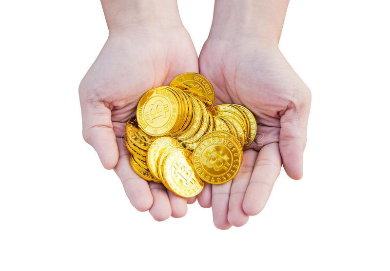 Close up of a bitcoin coins in woman hand isolated on white back stock image