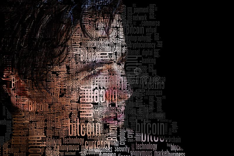 Bitcoin word clouds on young teen boy stock photography