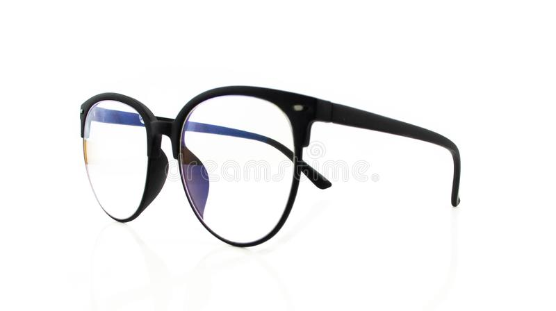 Close up black business glasses isolated on white background royalty free stock image