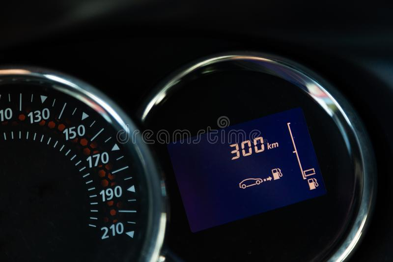 Close-up of black color speedometer inside modern automobile royalty free stock photo