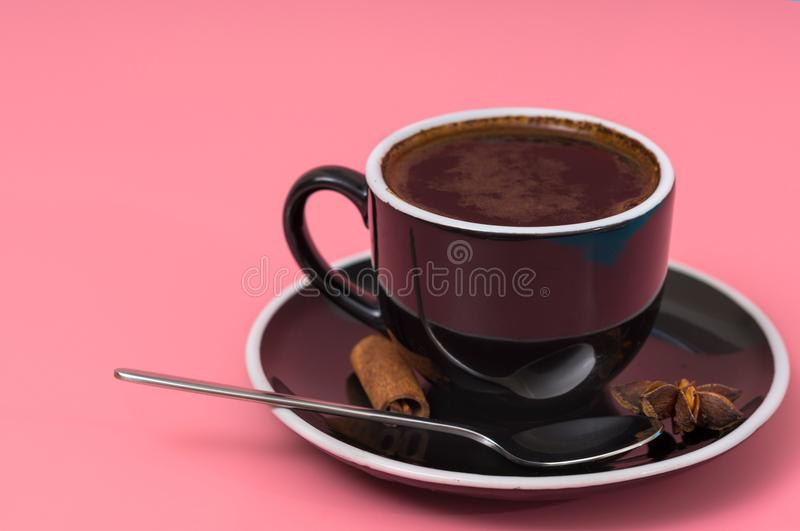 Close-up of a black cup of Italian espresso coffee stock images