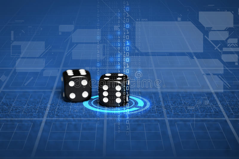 Close up of black dice on blue casino table stock illustration