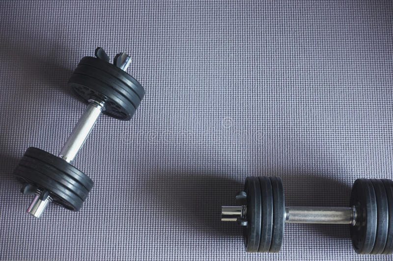 Close up of black dumbbells royalty free stock photos