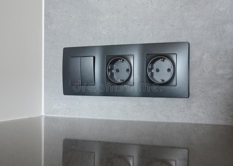 Socket Plug Installation  Electrican Repair And Installing Socket  Outlet Plug Stock Photo