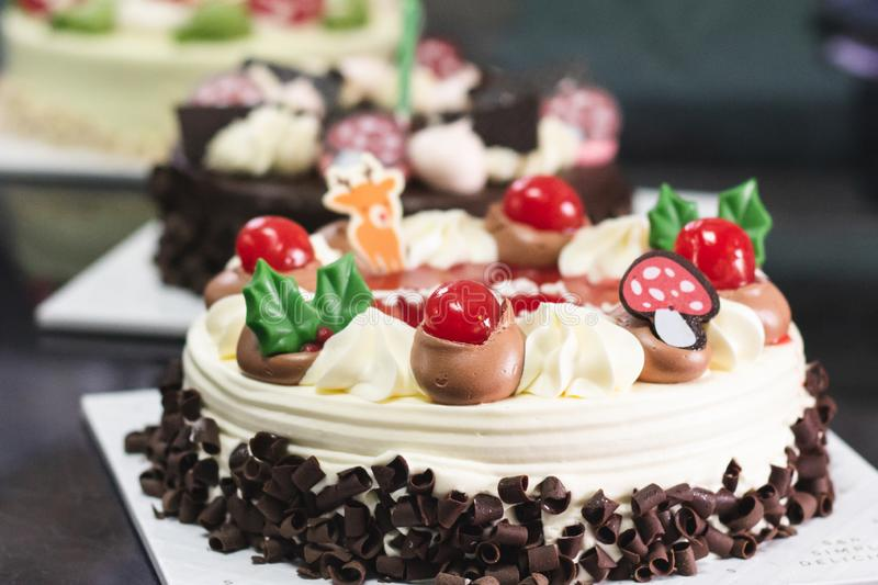 Close up of Black forest cake with blur background stock photos
